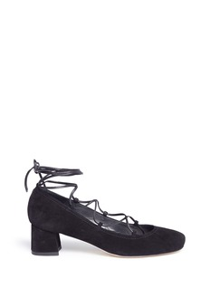 Stuart Weitzman 'Cordon' lace-up suede pumps