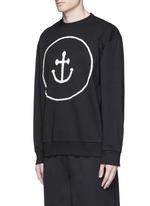 Smiley face anchor appliqué sweatshirt