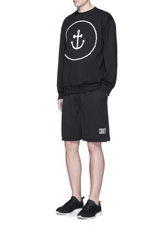 Insted We Smile Smiley face anchor appliqué sweatshirt