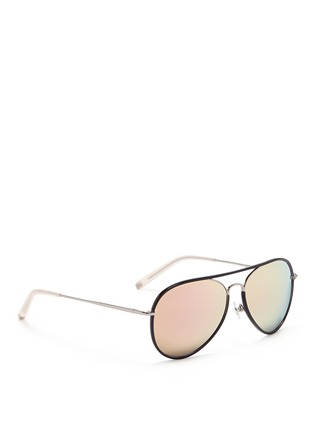 Figure View - Click To Enlarge - Matthew Williamson - Coated rim metal aviator mirror sunglasses