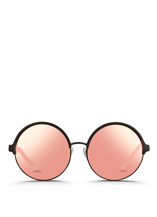 Main View - Click To Enlarge - Matthew Williamson - Contrast temples layered metal round mirror sunglasses