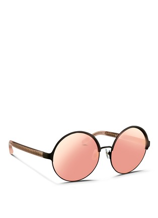 Figure View - Click To Enlarge - Matthew Williamson - Contrast temples layered metal round mirror sunglasses