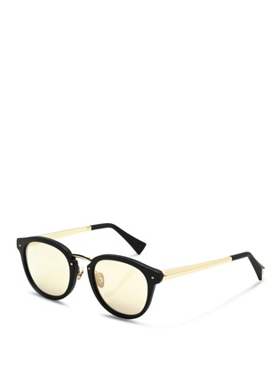 Figure View - Click To Enlarge - Haze - 'Edge' metal temple matte acetate round sunglasses