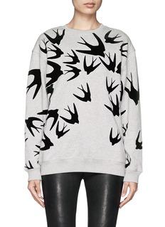 MCQ ALEXANDER MCQUEENVelvet flock swallow cotton sweatshirt