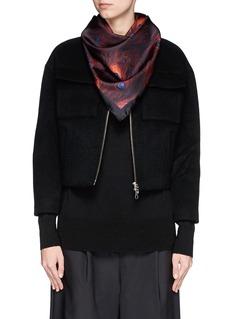 GIVENCHYPeacock print silk twill scarf