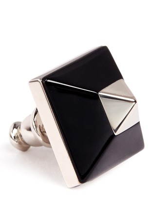 Detail View - Click To Enlarge - Givenchy - Plexiglas pyramid stud earrings