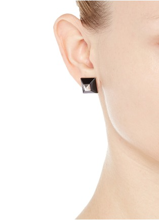 Figure View - Click To Enlarge - Givenchy - Plexiglas pyramid stud earrings