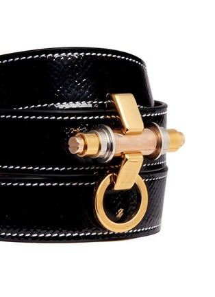 Detail View - Click To Enlarge - Givenchy - 'Obsedia' triple wrap coated leather bracelet