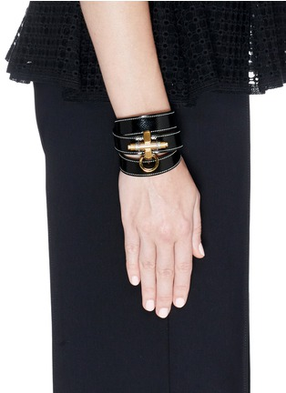 Figure View - Click To Enlarge - Givenchy - 'Obsedia' triple wrap coated leather bracelet