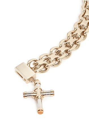 Detail View - Click To Enlarge - Givenchy - Cross charm curb chain bracelet