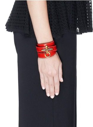 Figure View - Click To Enlarge - Givenchy - 'Obsedia' triple wrap leather bracelet