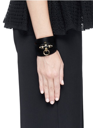 Figure View - Click To Enlarge - Givenchy - 'Obsedia' stud triple wrap leather bracelet
