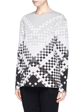 Front View - Click To Enlarge - Alexander Wang  - Woven pattern intarsia knit sweater