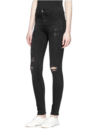 Front View - Click To Enlarge - rag & bone/JEAN - 'High Rise' distressed skinny leggings