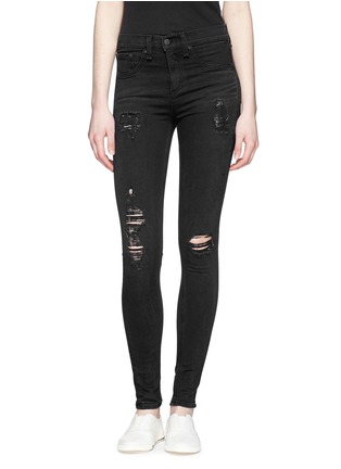Main View - Click To Enlarge - rag & bone/JEAN - 'High Rise' distressed skinny leggings