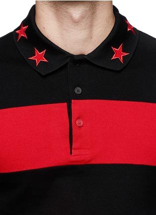细节 - 点击放大 - GIVENCHY - Contrast sleeve stripe polo shirt