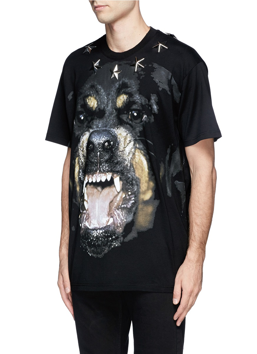Givenchy rottweiler print star stud t shirt on sale for Givenchy star t shirt
