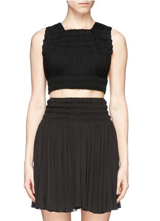 Main View - Click To Enlarge - Alaïa - Shirred cropped top