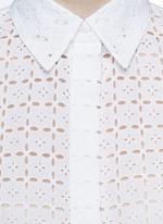 Broderie anglaise drawstring hem cropped shirt