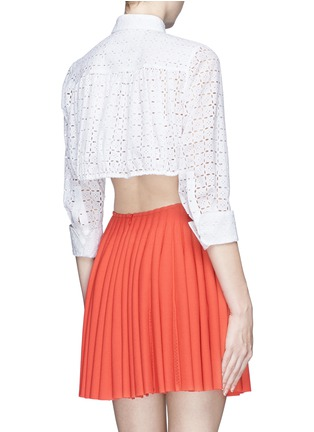 Back View - Click To Enlarge - Alaïa - Broderie anglaise drawstring hem cropped shirt