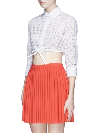 Front View - Click To Enlarge - Alaïa - Broderie anglaise drawstring hem cropped shirt