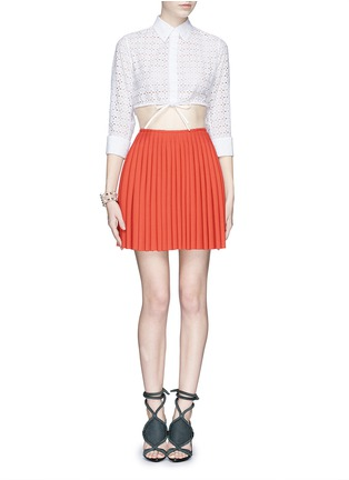 Figure View - Click To Enlarge - Alaïa - Broderie anglaise drawstring hem cropped shirt