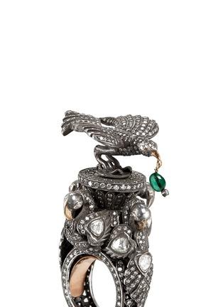 Detail View - Click To Enlarge - Aishwarya - Diamond pavé emerald drop bird ring
