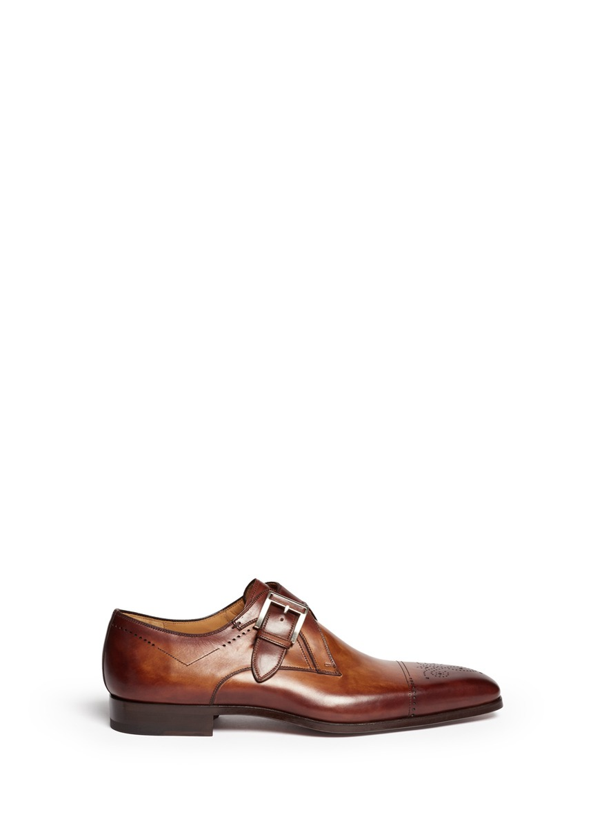 Monk-strap eyelet cap toe shoes