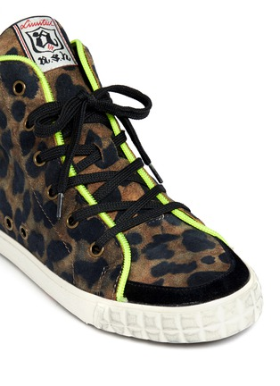 Detail View - Click To Enlarge - Ash - Leopard print neon trimmed sneakers