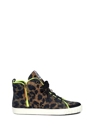 Main View - Click To Enlarge - Ash - Leopard print neon trimmed sneakers