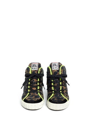 Figure View - Click To Enlarge - Ash - Leopard print neon trimmed sneakers