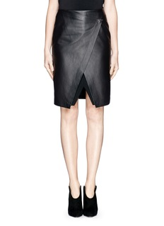 THEORY 'Derion' Leather Combo Skirt