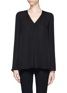 THEORY Inverted pleat silk blouse
