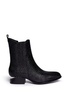 ALEXANDER WANG  'Anouck' cut-out heel croc-embossed leather Chelsea boots