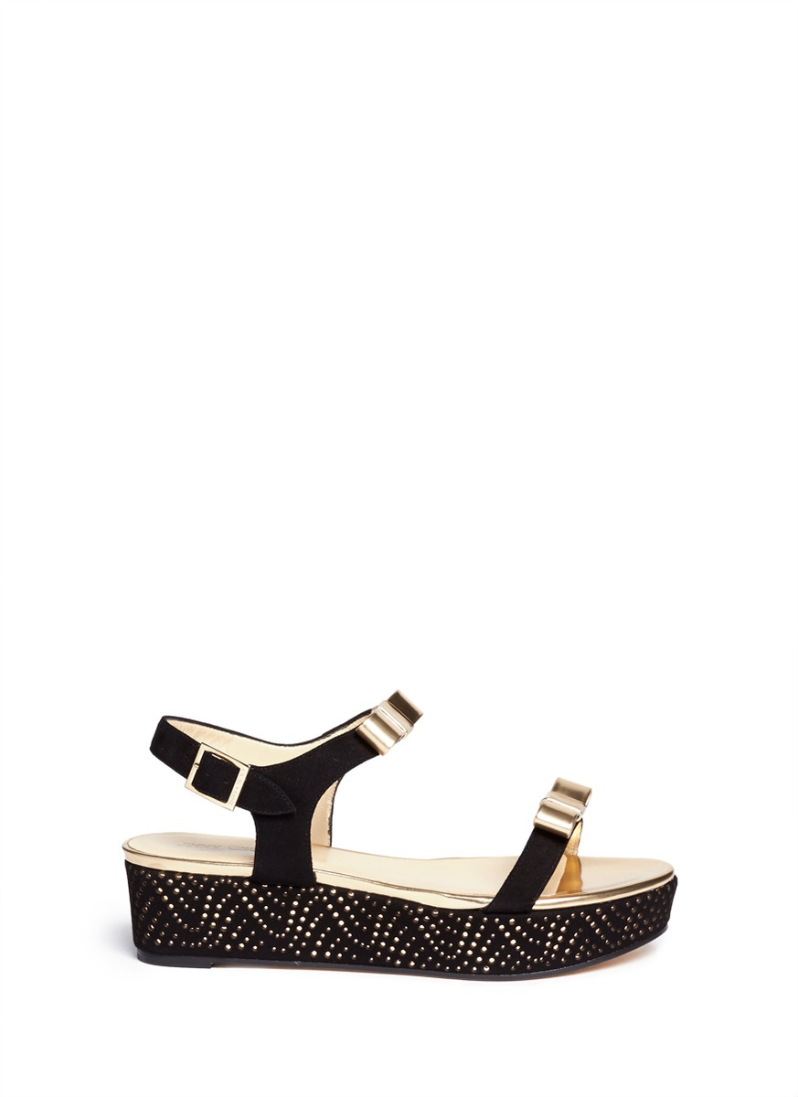 'Nelly' metallic bow perforated platform sandals