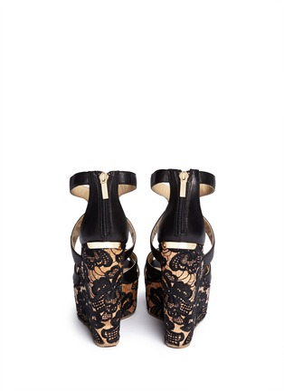 Back View - Click To Enlarge - Jimmy Choo - 'Parrow' strappy leather lace wedge sandals