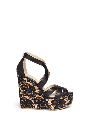 Main View - Click To Enlarge - Jimmy Choo - 'Parrow' strappy leather lace wedge sandals