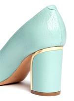 Metal plate heel leather pumps