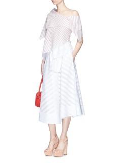 Rosie Assoulin'Robert Morris' stripe asymmetric tiered seersucker top