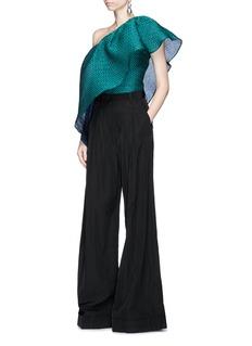 Rosie Assoulin 'Wedge' flounce one-shoulder seersucker top