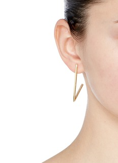 Michelle Campbell 'Long V Hoop' crystal pavé 14k gold earrings