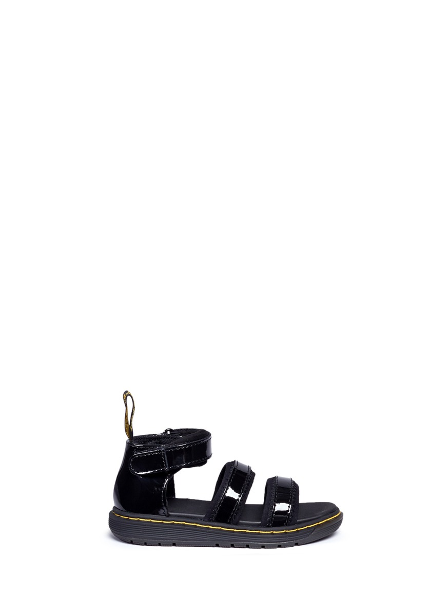 Marabel T ankle strap patent leather toddler sandals by Dr. Martens