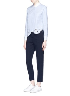 Comme MoiCutwork embroidery stripe cotton shirt