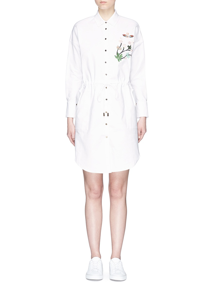 Flying Bunny embroidered shirt jacket by HELEN LEE