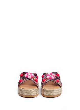 Front View - Click To Enlarge - MABU by Maria BK - 'Violette' tribal embroidered espadrille platform slide sandals