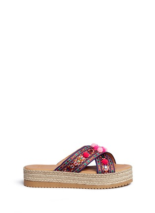 Main View - Click To Enlarge - MABU by Maria BK - 'Violette' tribal embroidered espadrille platform slide sandals