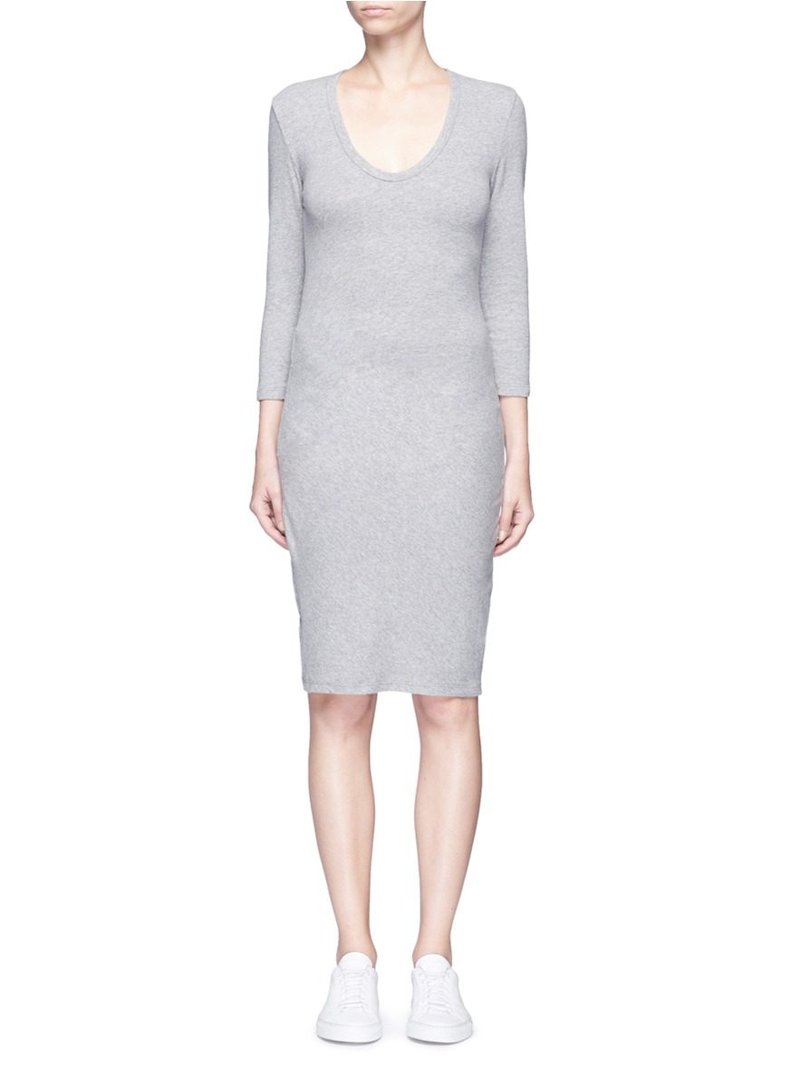 Ruched side cotton blend jersey dress by James Perse