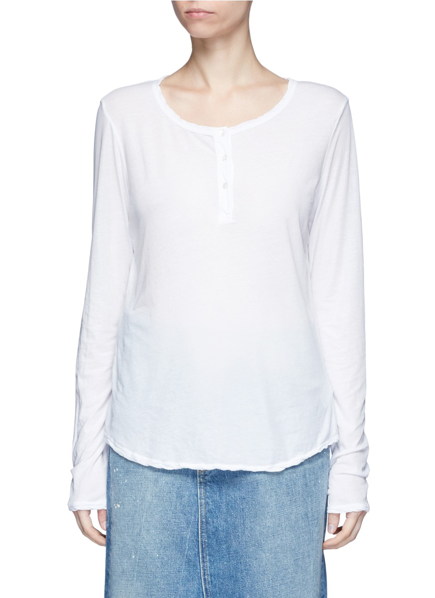 Cotton jersey Henley shirt by James Perse