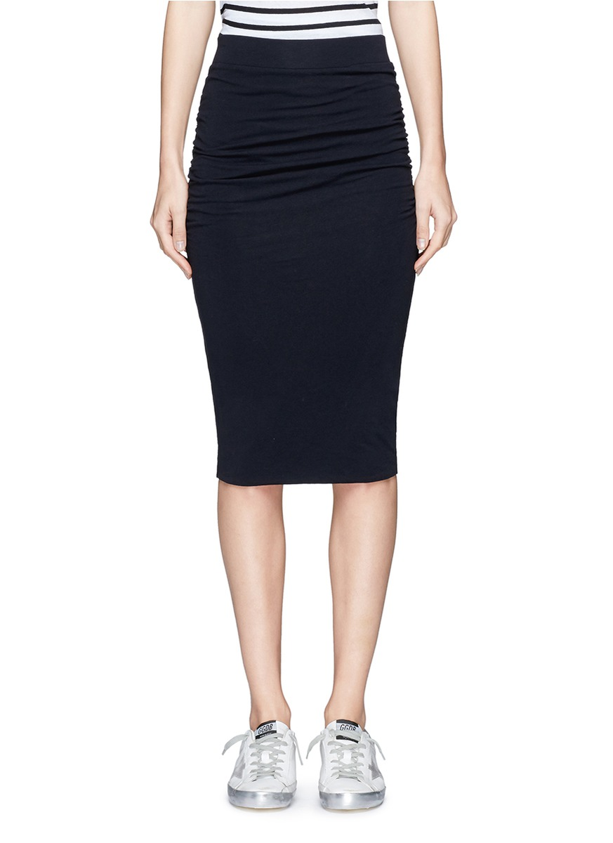 Ruched side stretch pencil skirt by James Perse