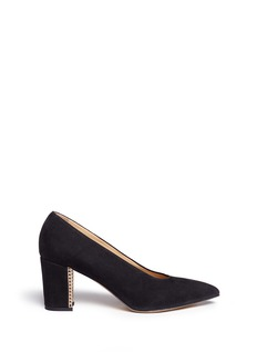 Bionda Castana 'Dries' grid block heel calfskin suede pumps